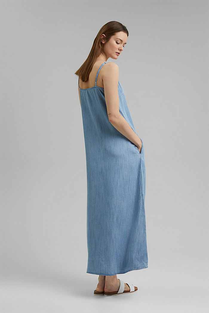 Aus TENCEL™: Maxi-Kleid in Denim-Optik, BLUE BLEACHED, detail image number 2