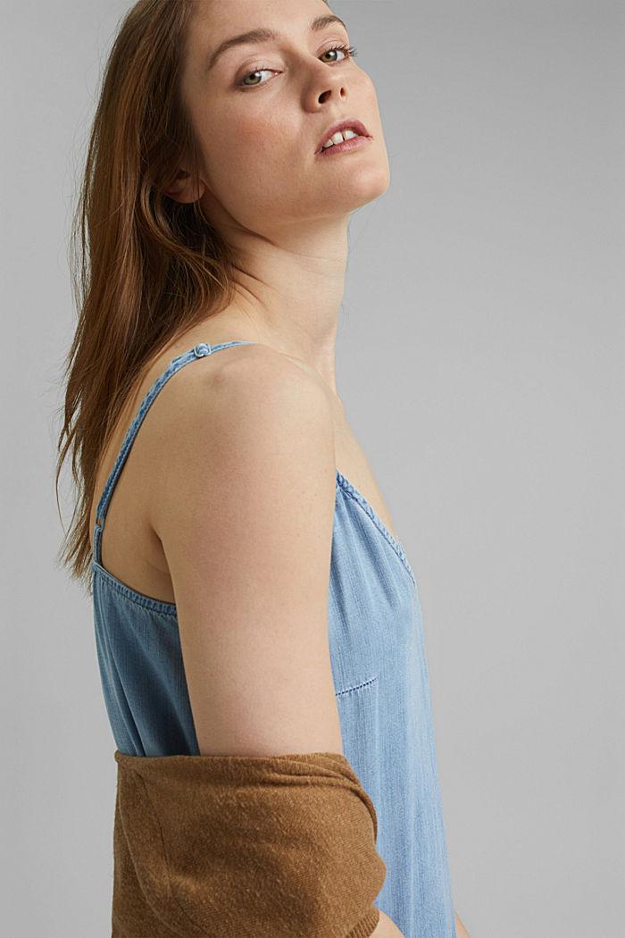 Aus TENCEL™: Maxi-Kleid in Denim-Optik, BLUE BLEACHED, detail image number 5