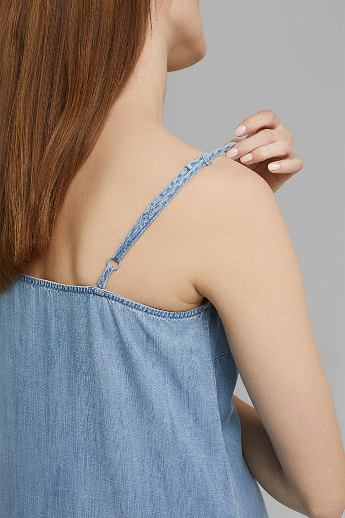 Aus TENCEL™: Maxi-Kleid in Denim-Optik, BLUE BLEACHED, detail image number 3