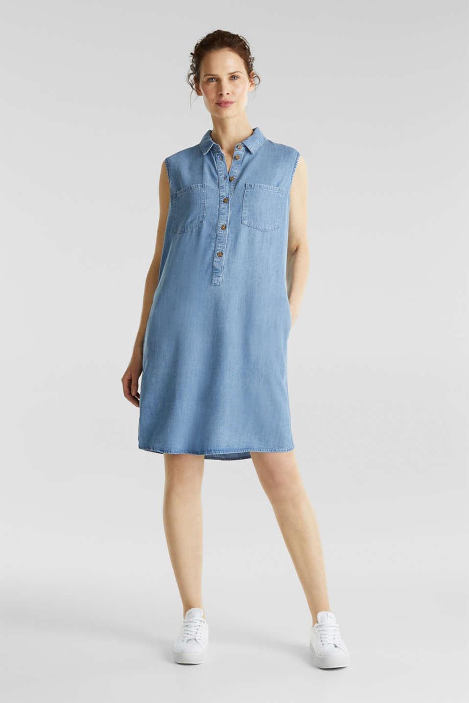 Made of TENCEL™: denim-effect dress, BLUE LIGHT WASH, detail image number 1