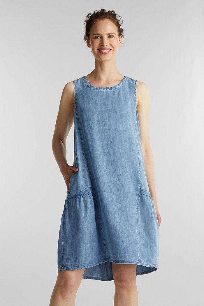 I TENCEL™: klänning i denimlook, BLUE LIGHT WASHED, detail image number 0