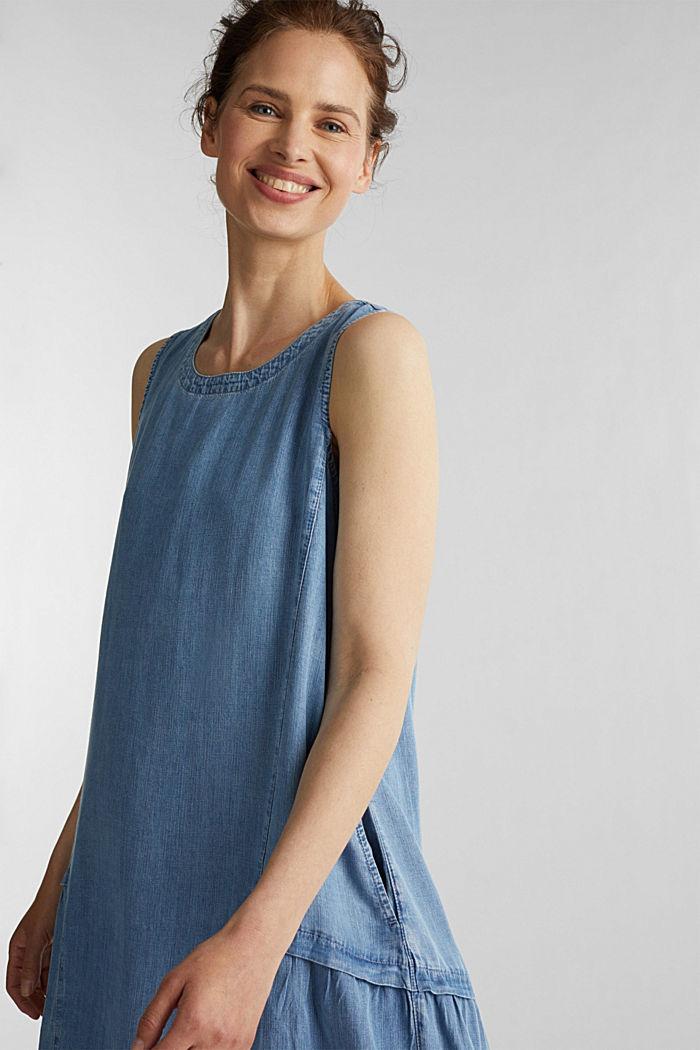 I TENCEL™: klänning i denimlook, BLUE LIGHT WASHED, detail image number 5
