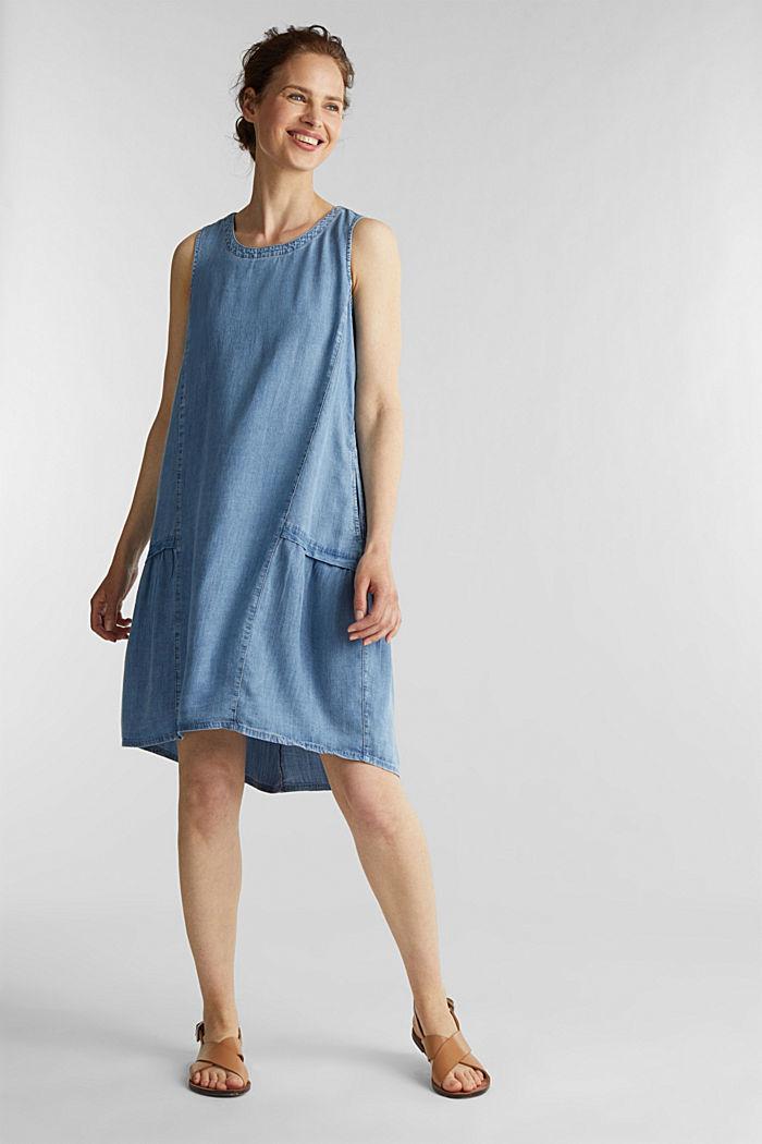 I TENCEL™: klänning i denimlook, BLUE LIGHT WASHED, detail image number 1