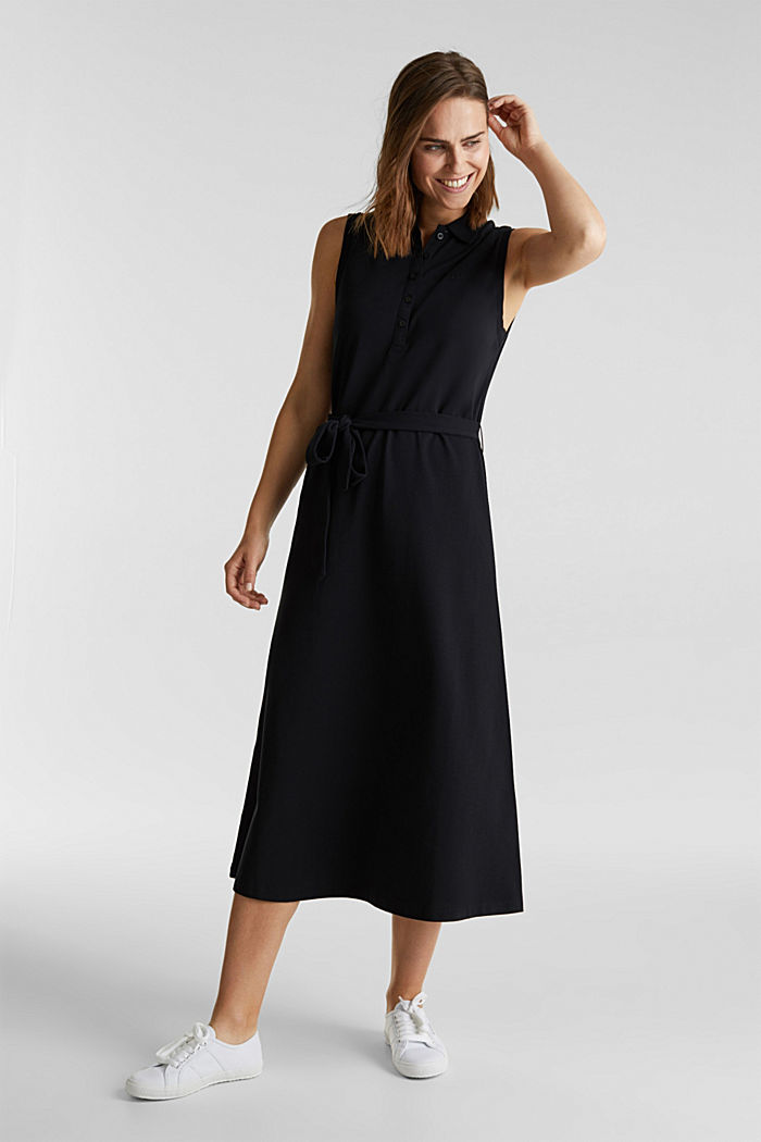 Long dress in the style of a polo shirt with belt