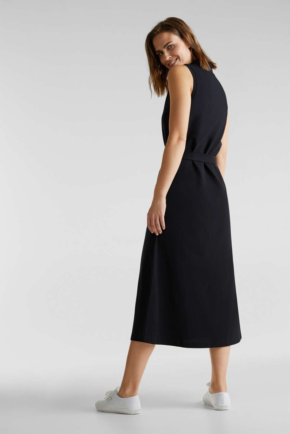 Long dress in the style of a polo shirt with belt, BLACK, detail image number 2