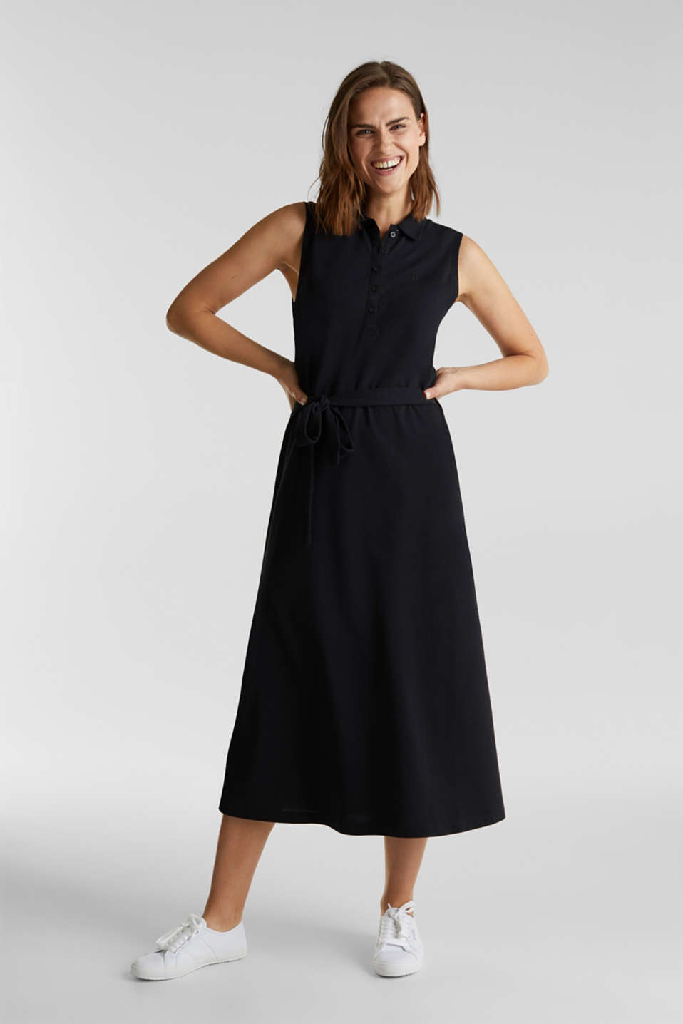 Long dress in the style of a polo shirt with belt, BLACK, detail image number 1