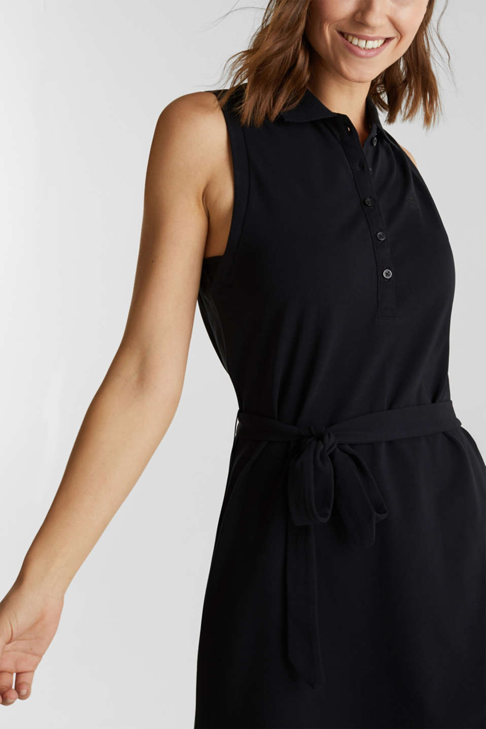 Long dress in the style of a polo shirt with belt, BLACK, detail image number 3