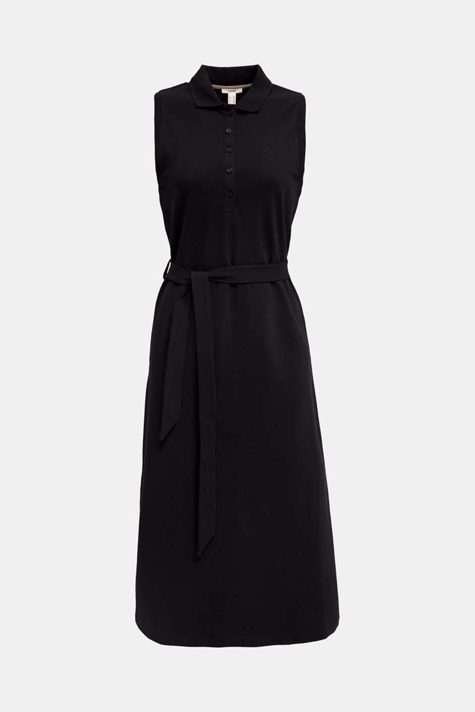 Long dress in the style of a polo shirt with belt, BLACK, detail image number 5