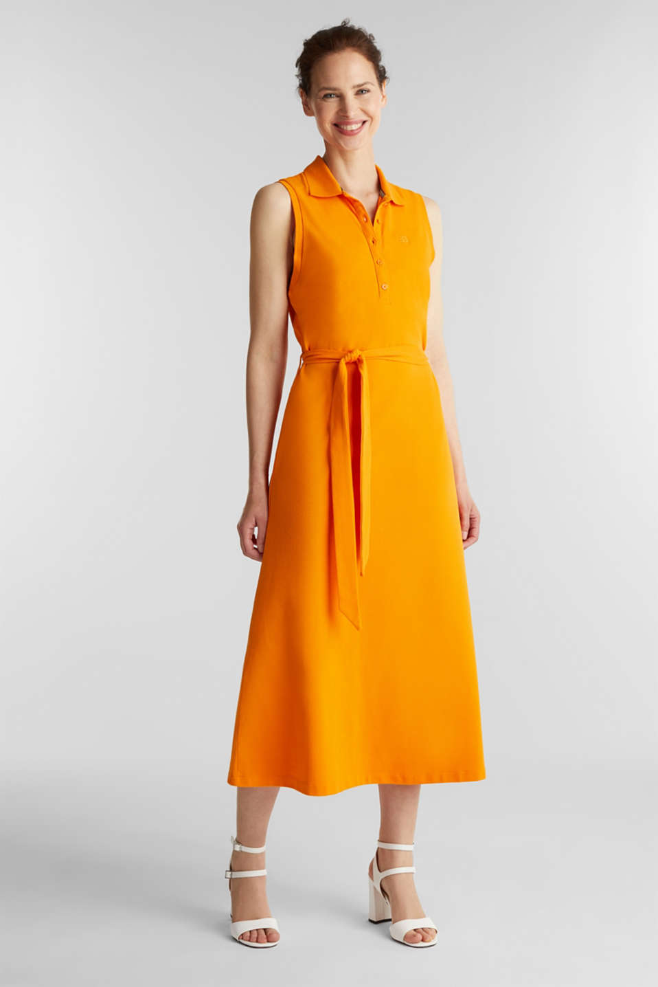 Esprit - Long dress in the style of a polo shirt with belt