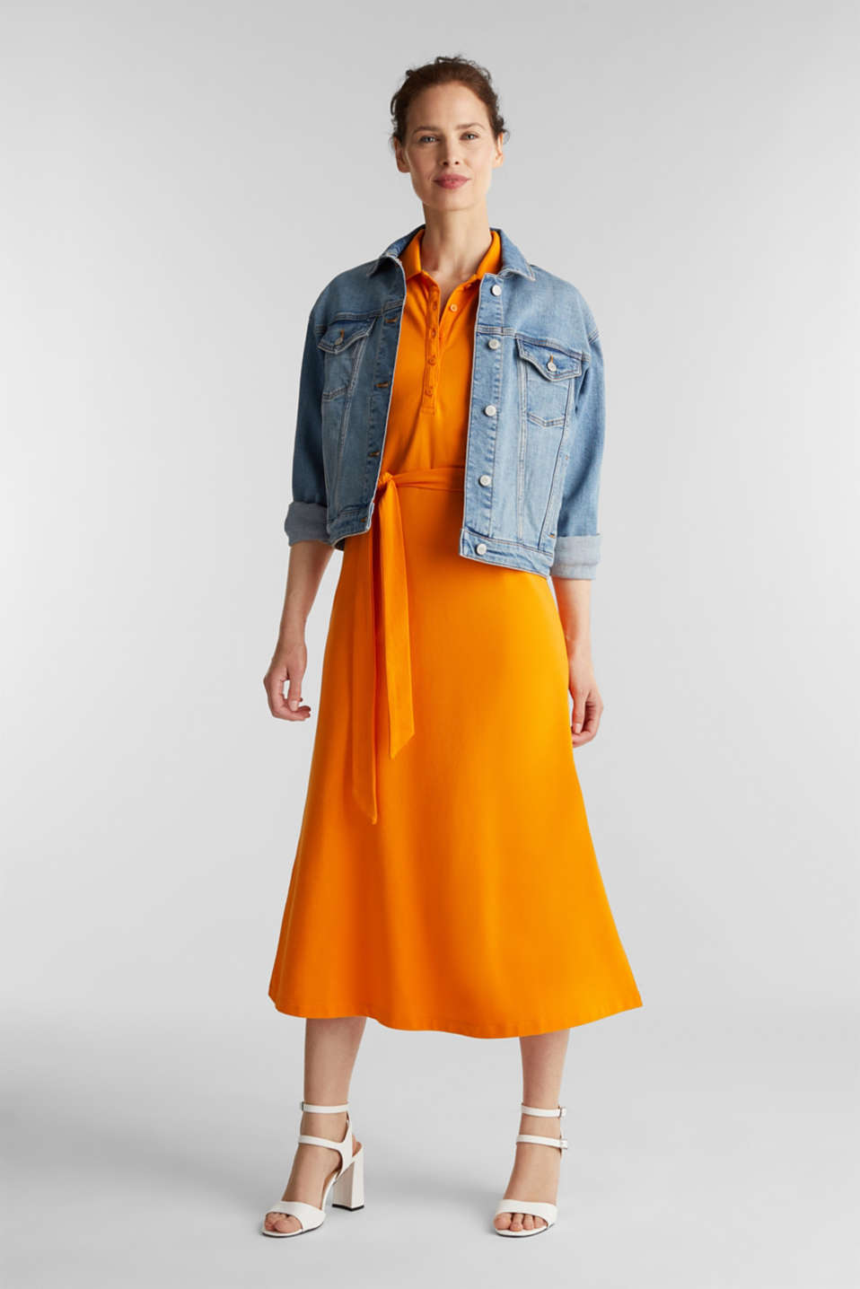 Long dress in the style of a polo shirt with belt, ORANGE 4, detail image number 0