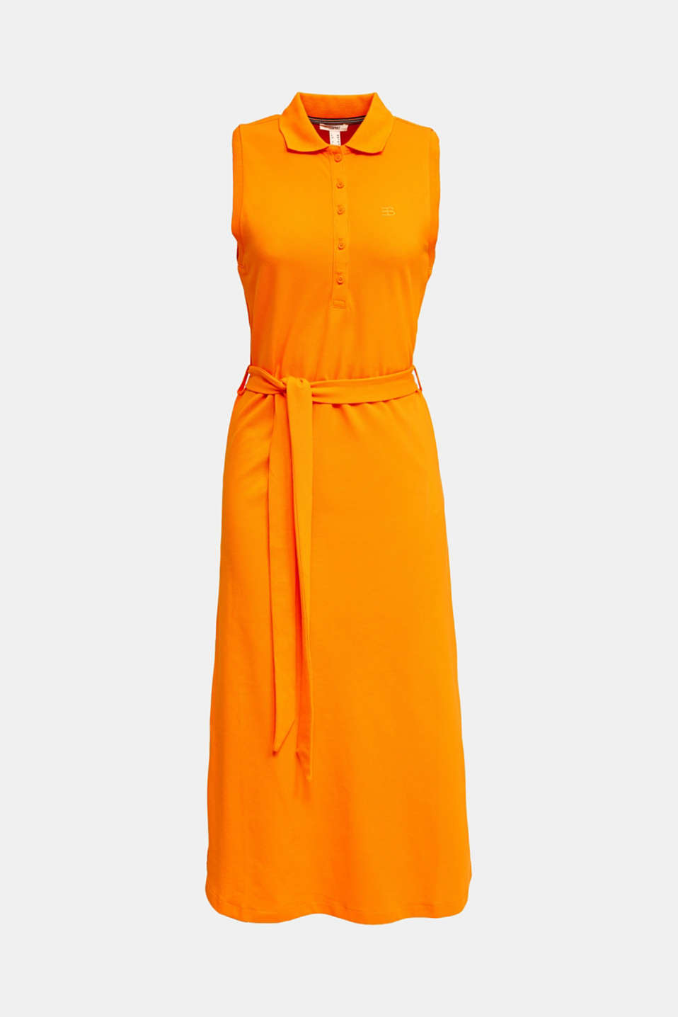 Long dress in the style of a polo shirt with belt, ORANGE 4, detail image number 4