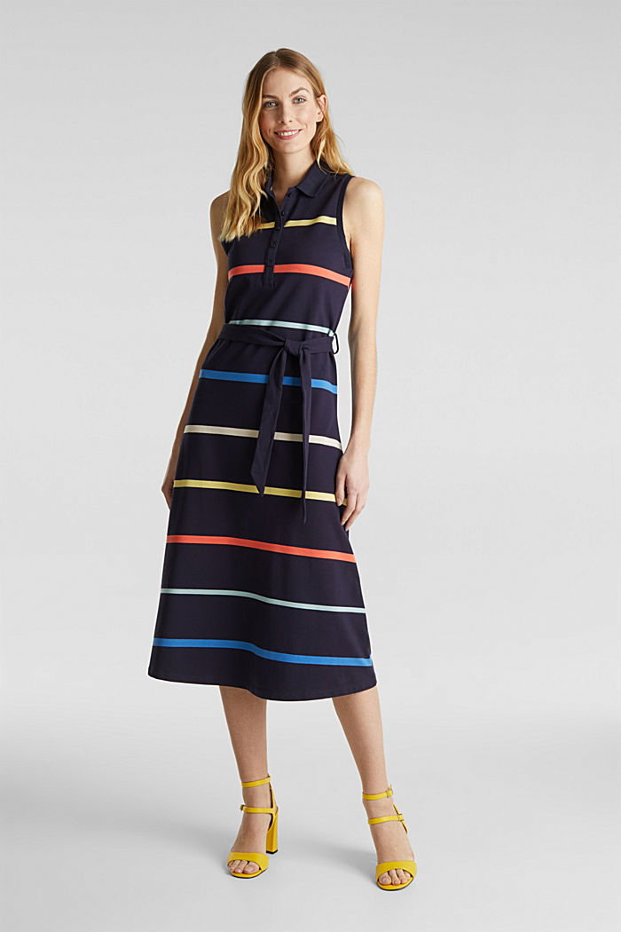 Striped polo dress in midi length, NAVY, detail image number 0