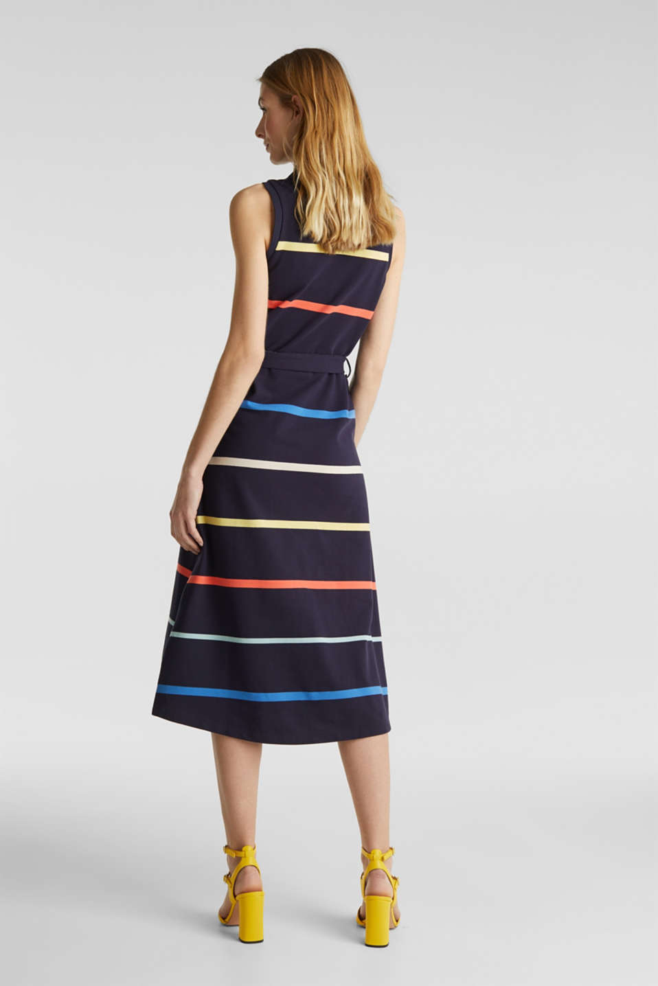 Striped polo dress in midi length, NAVY, detail image number 1