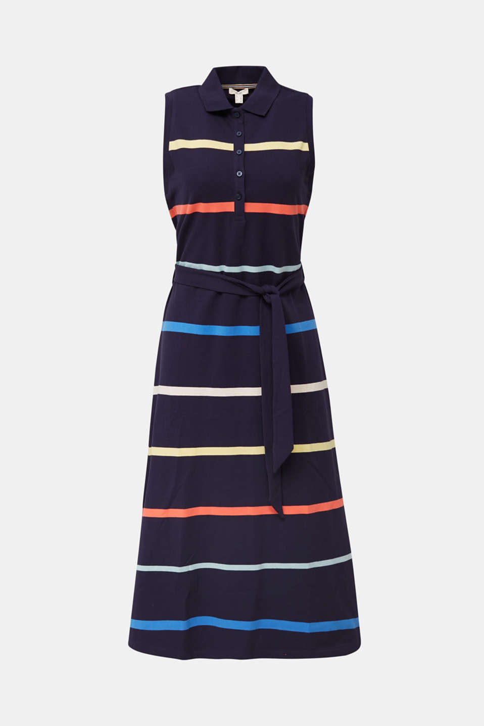 Striped polo dress in midi length, NAVY, detail image number 3