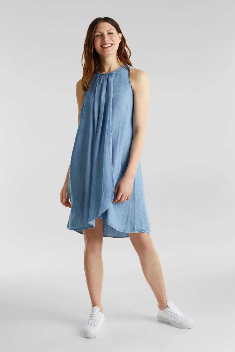 Layered dress made of TENCEL™, BLUE LIGHT WASH, detail image number 5
