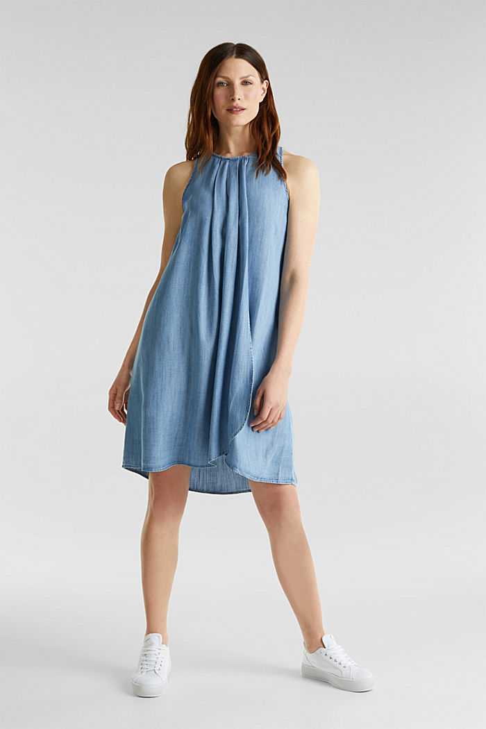 Layered dress made of TENCEL™, BLUE LIGHT WASHED, detail image number 1