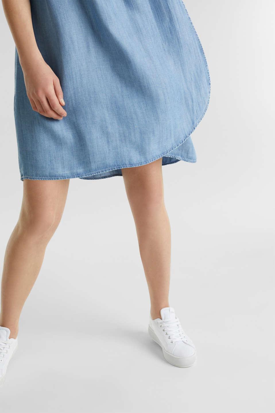 Layered dress made of TENCEL™, BLUE LIGHT WASH, detail image number 3