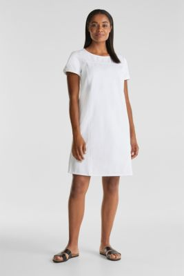 Cotton denim sheath dress, WHITE, detail