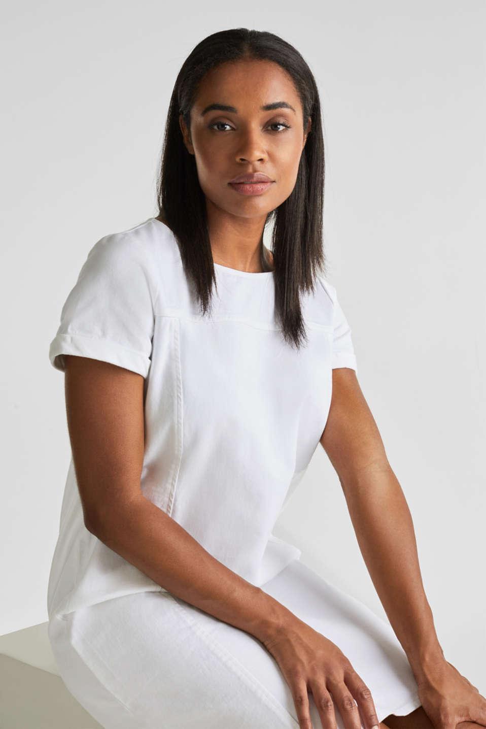Cotton denim sheath dress, WHITE, detail image number 4