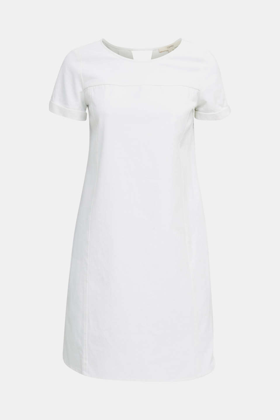 Cotton denim sheath dress, WHITE, detail image number 6