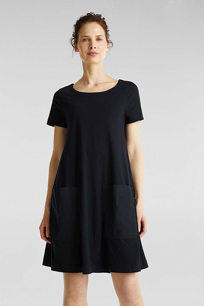 A-line dress made of 100% cotton, BLACK, detail image number 0