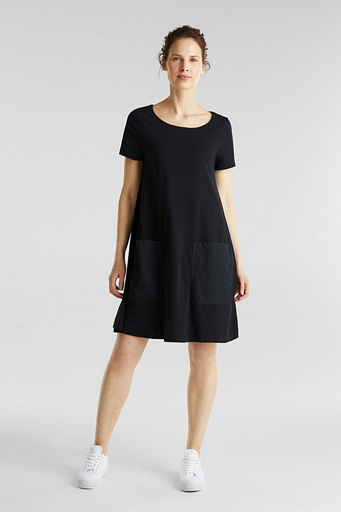 A-line dress made of 100% cotton, BLACK, detail image number 1