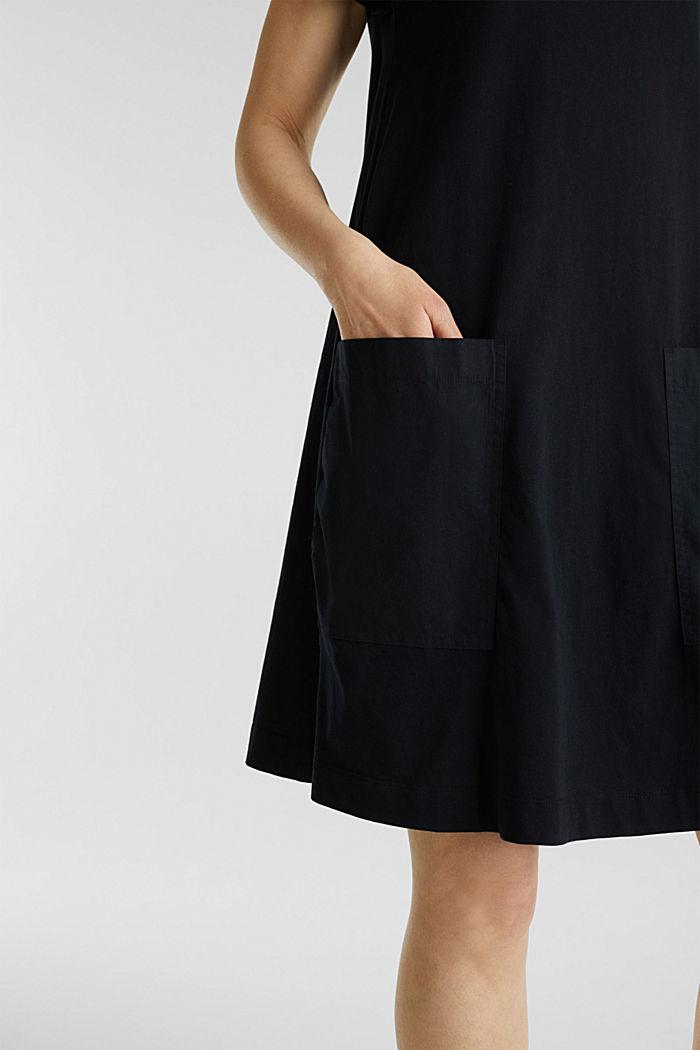 A-line dress made of 100% cotton, BLACK, detail image number 3