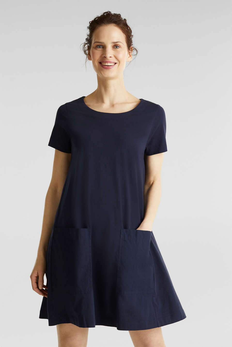 A-line dress made of 100% cotton, NAVY, detail image number 0