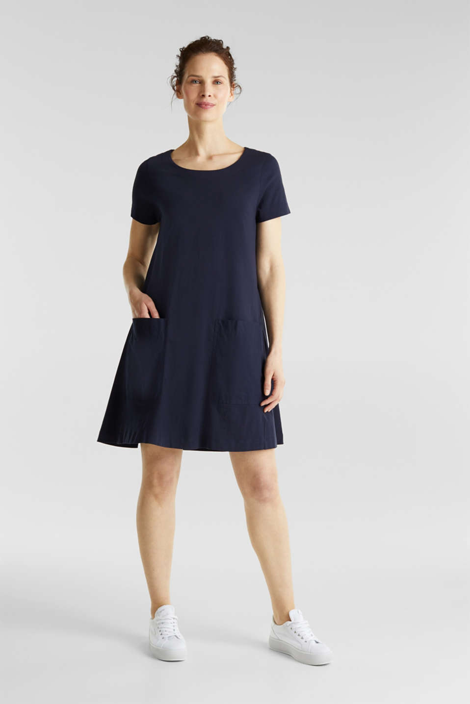 A-line dress made of 100% cotton, NAVY, detail image number 1