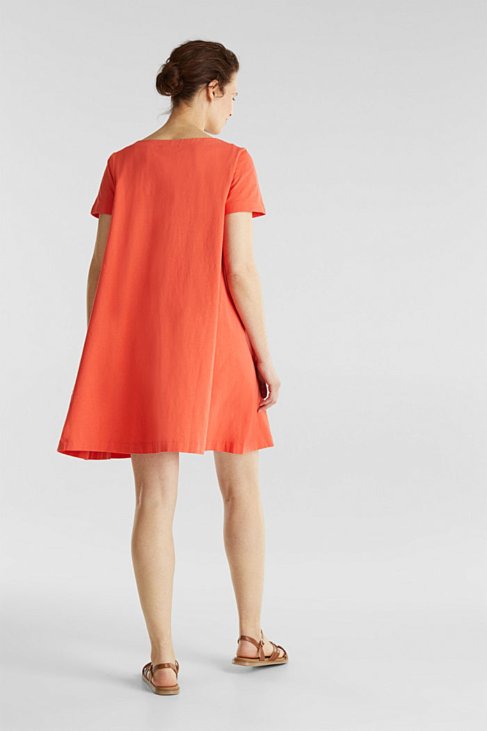 A-line dress made of 100% cotton, CORAL, detail image number 2