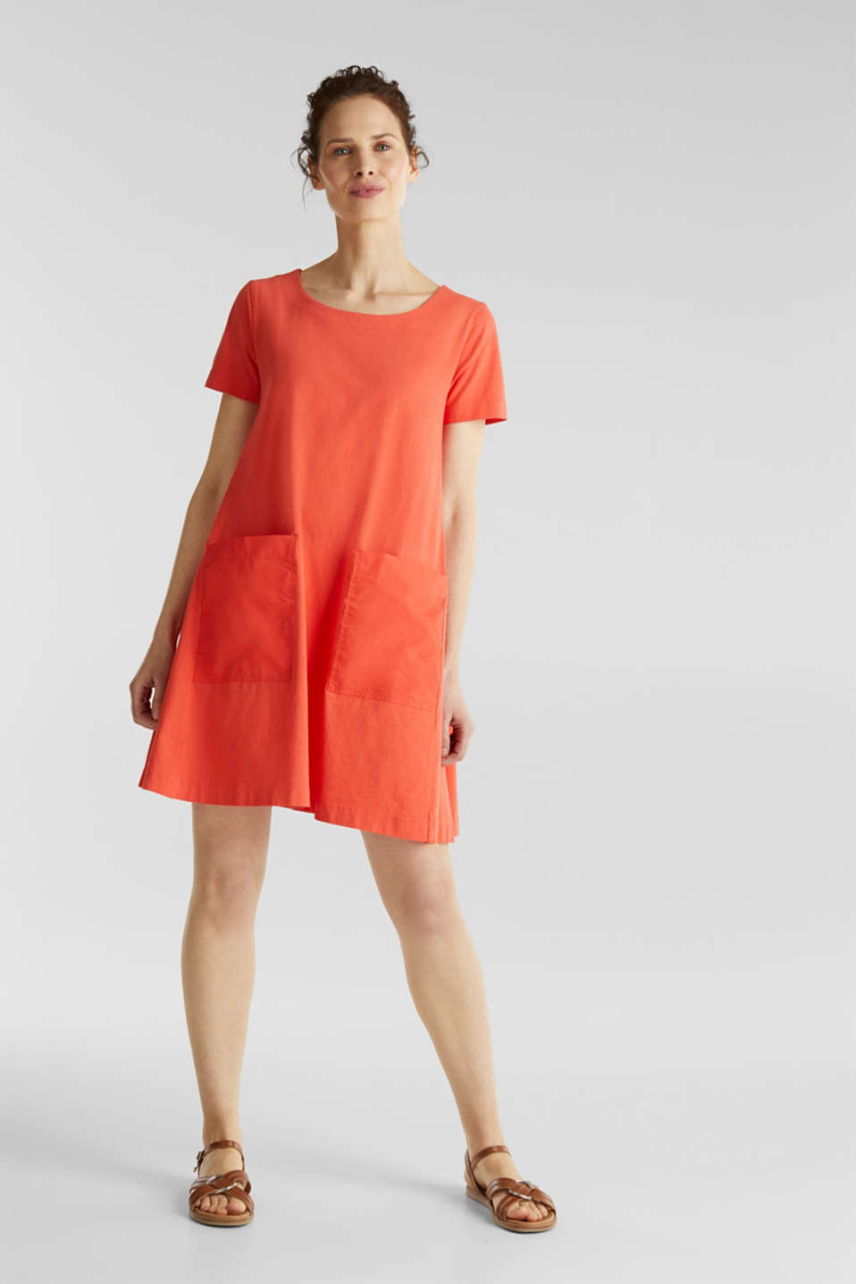 A-line dress made of 100% cotton, CORAL, detail image number 1