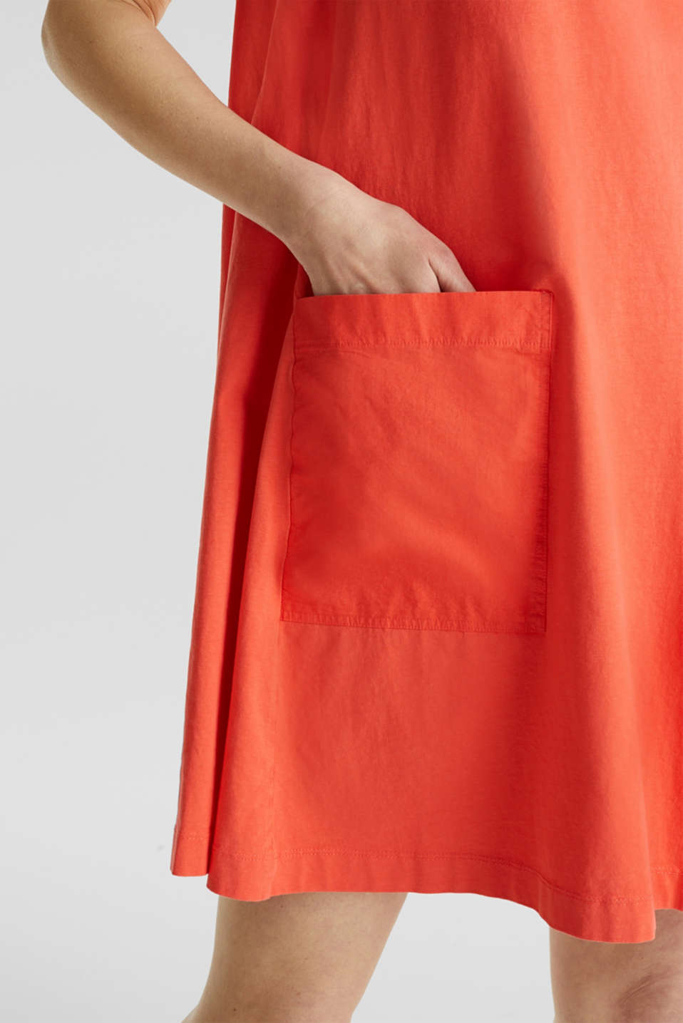 A-line dress made of 100% cotton, CORAL, detail image number 3