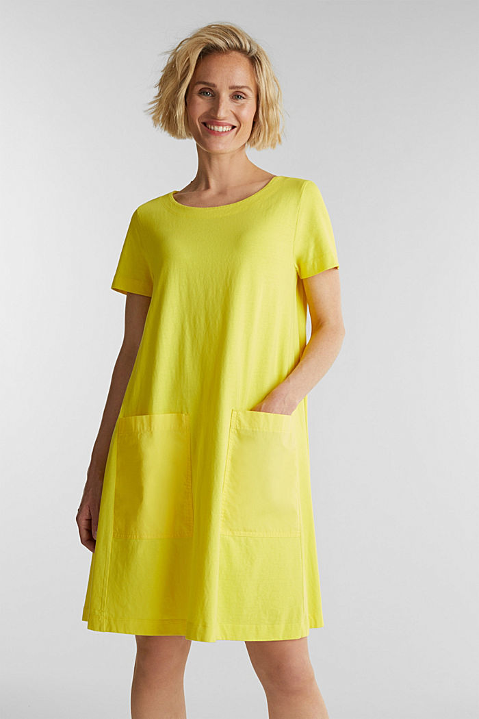 A-line dress made of 100% cotton, BRIGHT YELLOW, detail image number 0