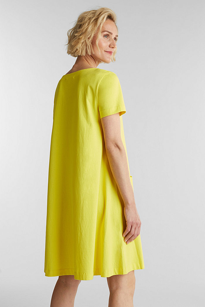 A-line dress made of 100% cotton, BRIGHT YELLOW, detail image number 2