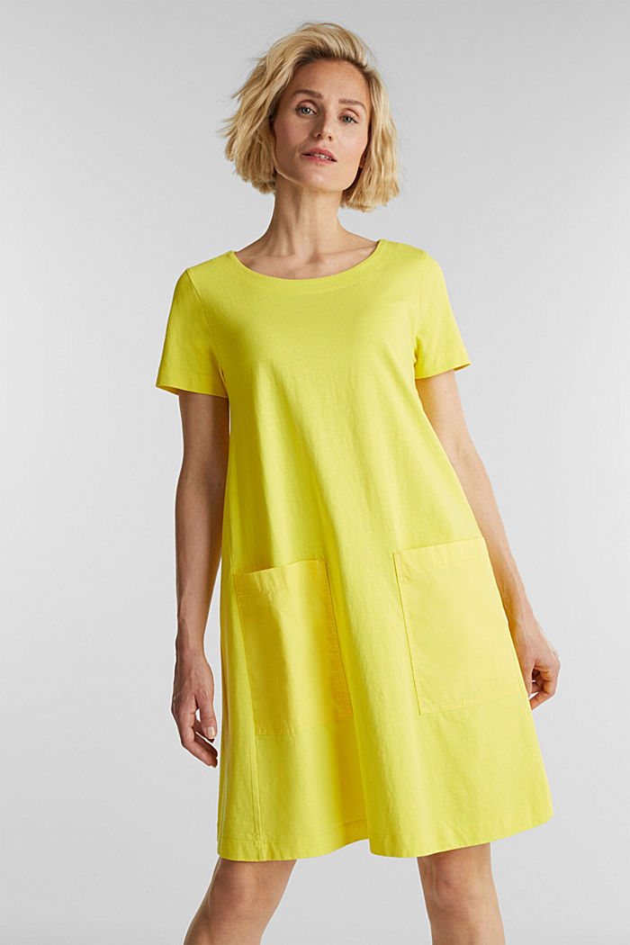 A-line dress made of 100% cotton, BRIGHT YELLOW, detail image number 5