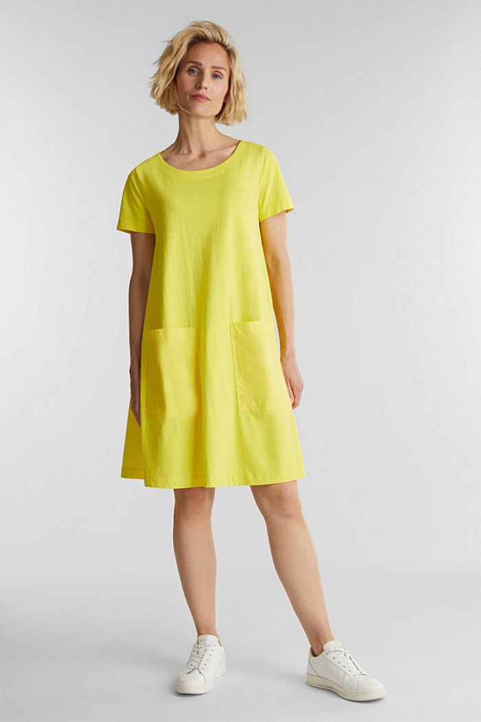 A-line dress made of 100% cotton, BRIGHT YELLOW, detail image number 1