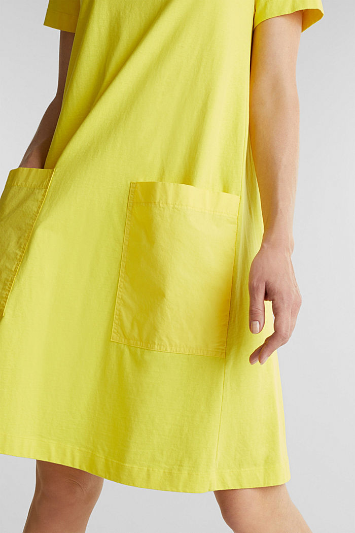 A-line dress made of 100% cotton, BRIGHT YELLOW, detail image number 3