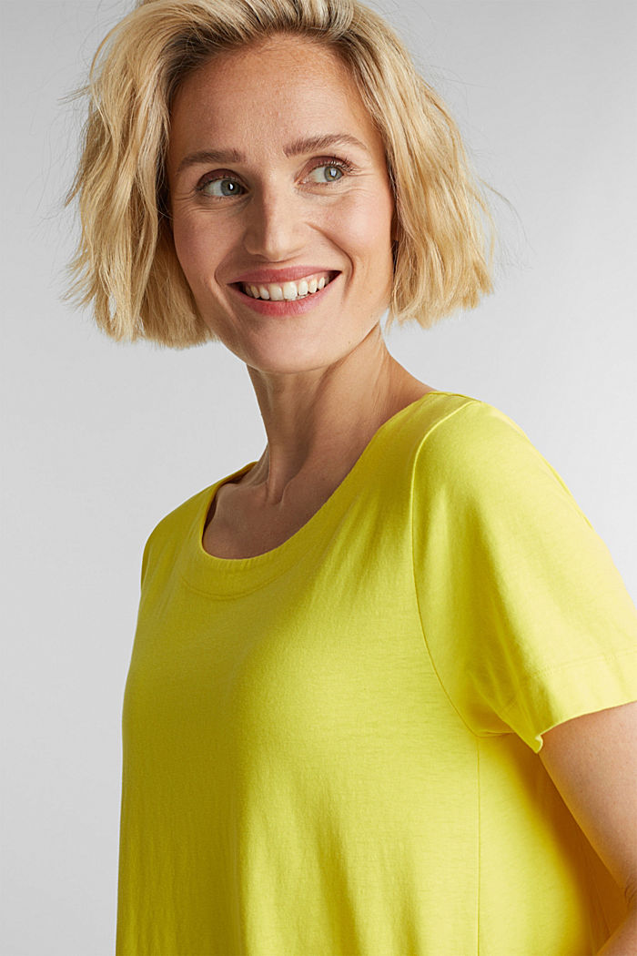 A-line dress made of 100% cotton, BRIGHT YELLOW, detail image number 6