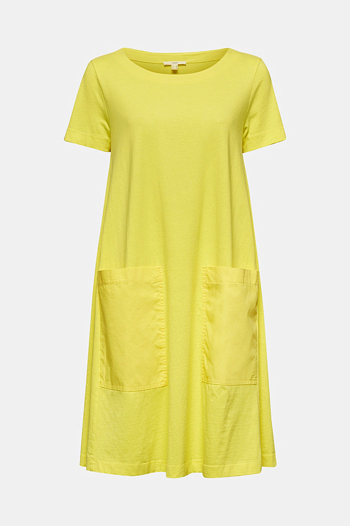 A-line dress made of 100% cotton, BRIGHT YELLOW, detail image number 7