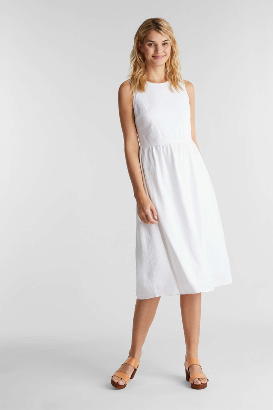Linen blend: basic dress, WHITE, detail image number 0