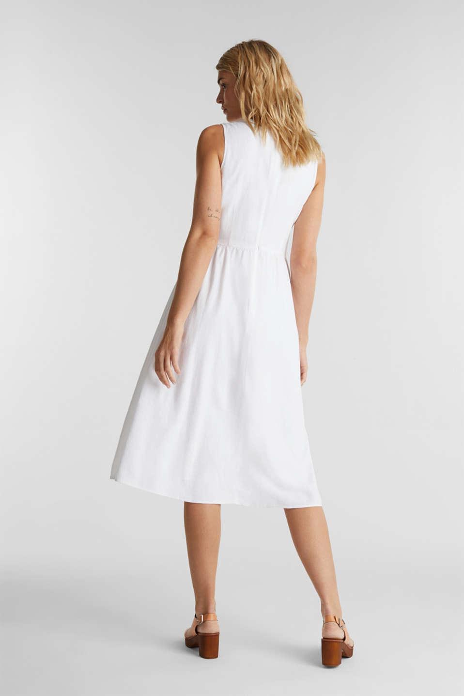 Linen blend: basic dress, WHITE, detail image number 2