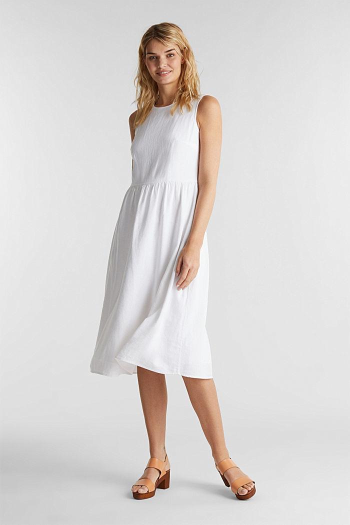 In misto lino: abito basic, WHITE, detail image number 4