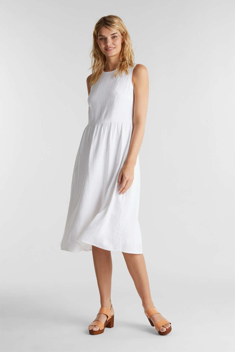 Linen blend: basic dress, WHITE, detail image number 4