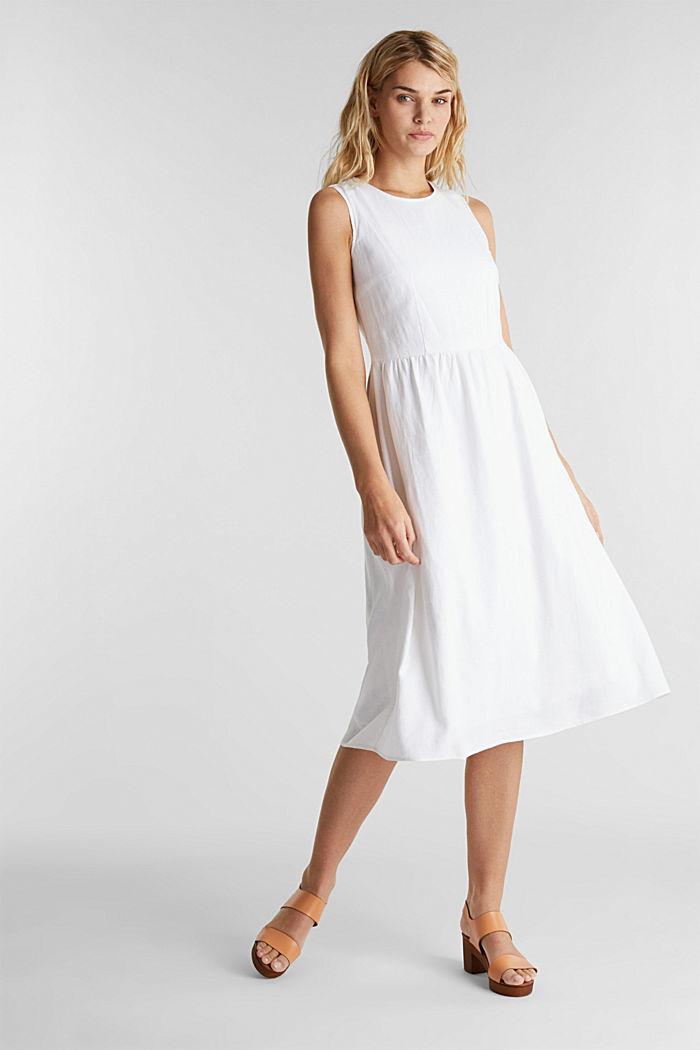 In misto lino: abito basic, WHITE, detail image number 1