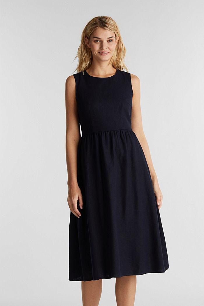 Linen blend: basic dress, NAVY, detail image number 0