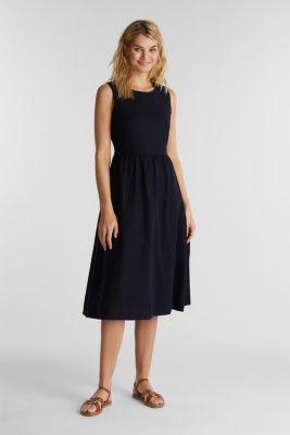 Linen blend: basic dress, NAVY, detail