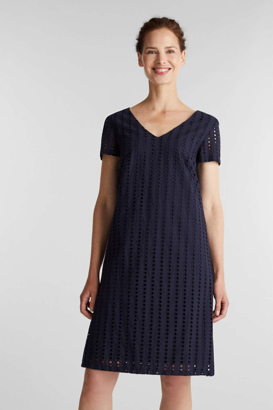 Dress with broderie anglaise, 100% cotton, NAVY, detail image number 0