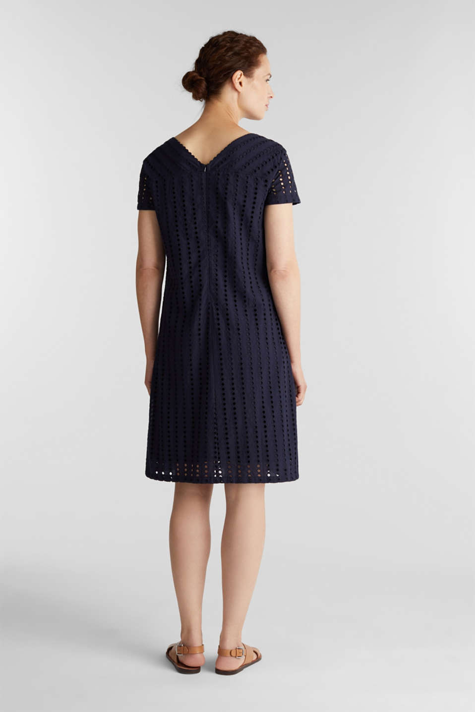 Dress with broderie anglaise, 100% cotton, NAVY, detail image number 2