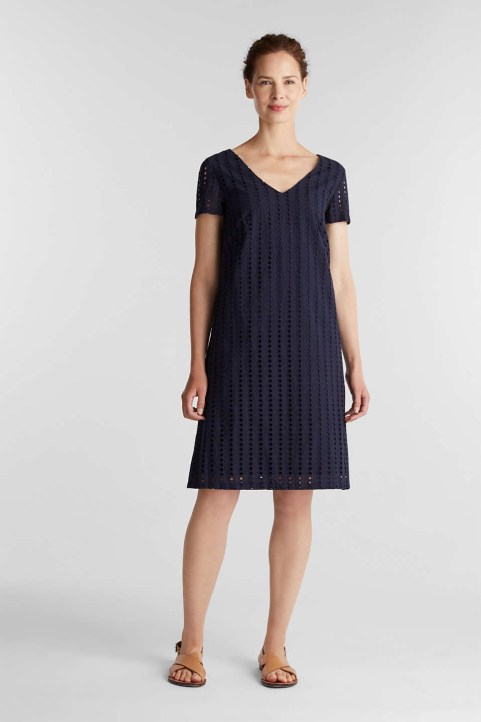 Dress with broderie anglaise, 100% cotton, NAVY, detail image number 5