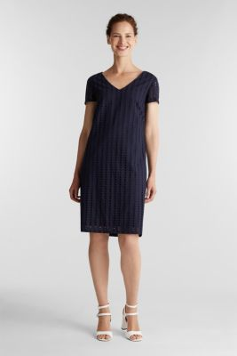 Dress with broderie anglaise, 100% cotton, NAVY, detail